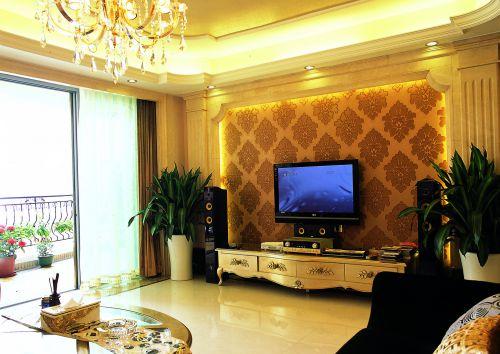 经典富贵欧式别墅电视背景墙实景图