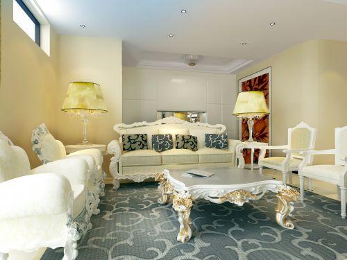 法式与欧式四居室客厅装修图片欣赏
