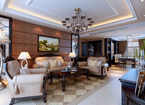 欧式新古典三居室客厅装修效果图大全