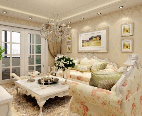 清新欧式风情小户型客厅吊顶装修效果图
