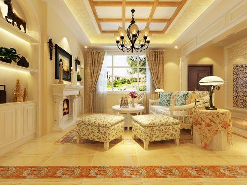 欧式田园风格三居室客厅背景墙装修效果图