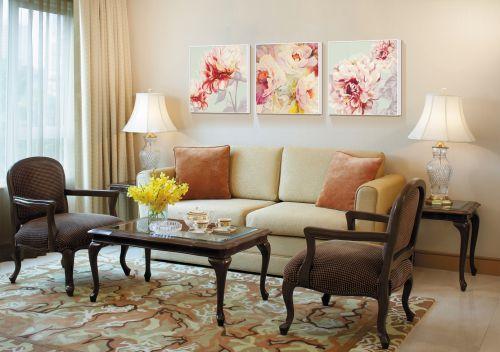 欧式复古沙发小户型混搭窗帘客厅装修效果图