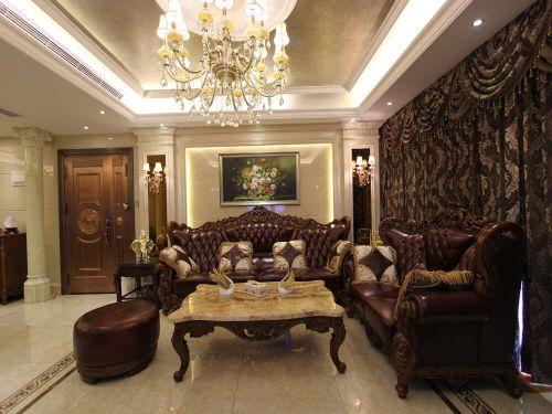 欧式风格别墅客厅茶几装修效果图