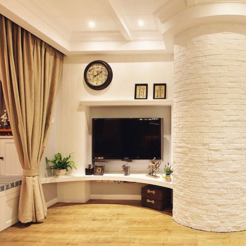 欧式风两居客厅电视背景墙电视柜效果图