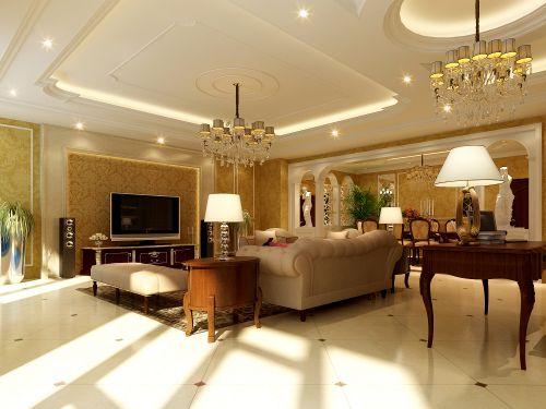 欧式奢华四居室客厅装修图片欣赏