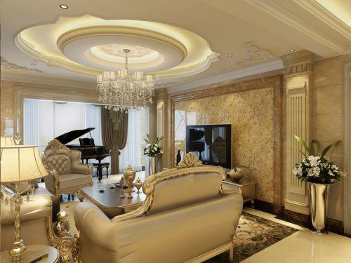 欧式风格五居室客厅吊顶装修效果图欣赏