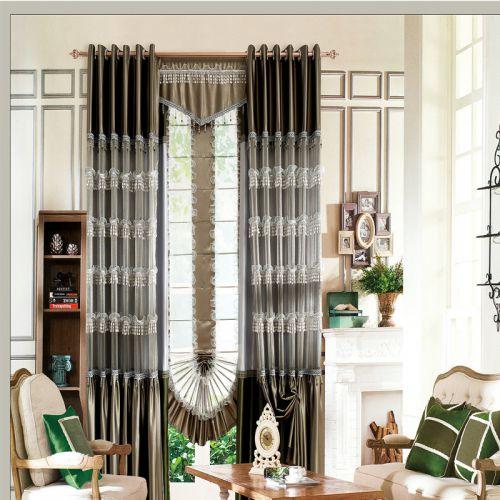 灰色欧式蕾丝花边客厅窗帘效果图
