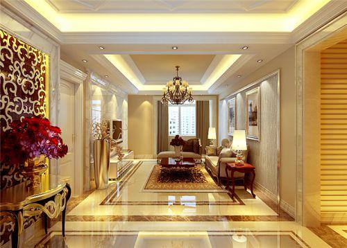 欧式风格三居室客厅吊顶装修效果图