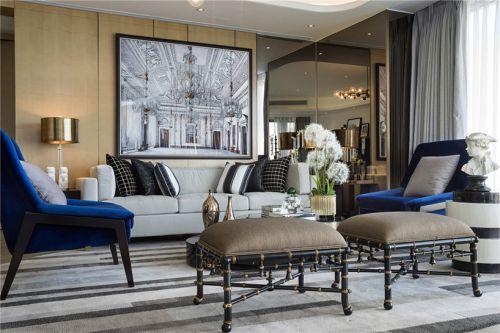 欧式黑色现代微奢客厅装修效果图