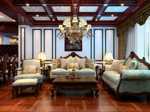 欧式三居室客厅装修图片