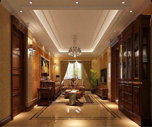 欧式新古典三居室客厅背景墙装修效果图