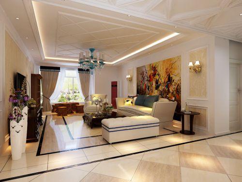 欧式风格三居室客厅吊顶装修图片
