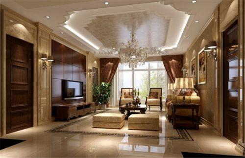 欧式三居室客厅装修效果图大全