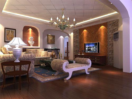 现代欧式三居室客厅装修效果图