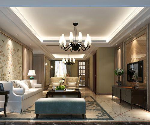 欧式风格三房两厅装修客厅设计效果图