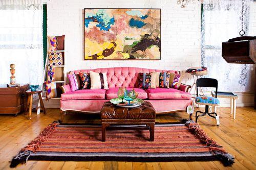 欧式浓妆素抹粉色甜心客厅装修效果图