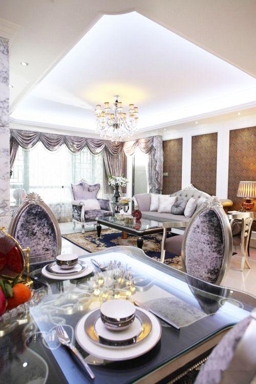 欧式风格之低调奢华三居室客厅装修效果图欣赏