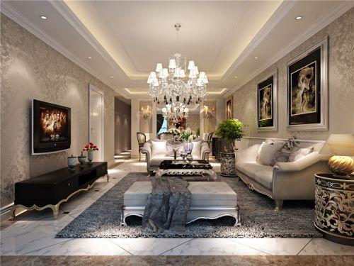 轻奢欧式风格三居室气质客厅壁纸装修效果图