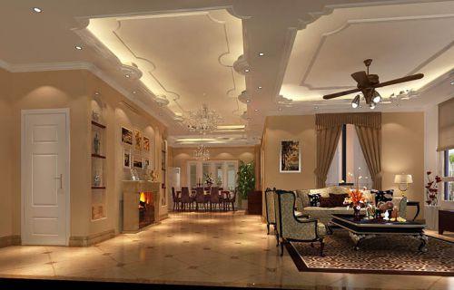 简约欧式三居室客厅吊顶装修效果图