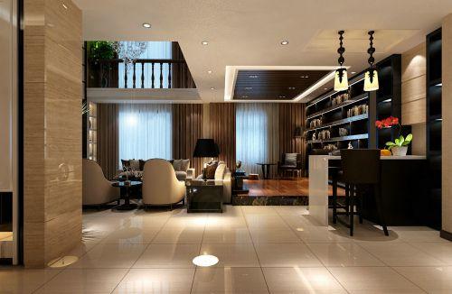 欧式风格196平复式白色客厅吧台装修效果图