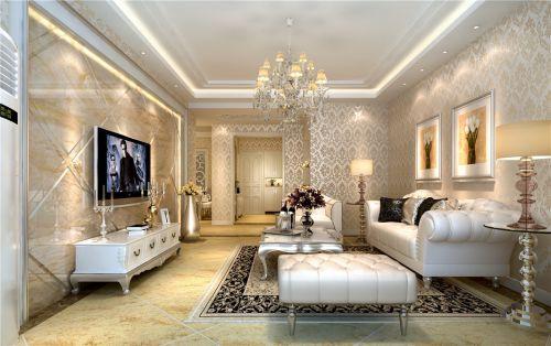 欧式风格三居室客厅米色花纹壁纸装修图片