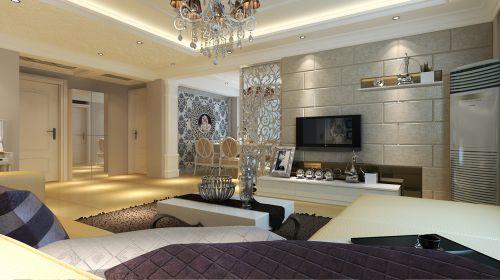 欧式,简约,清新三居室客厅装修效果图
