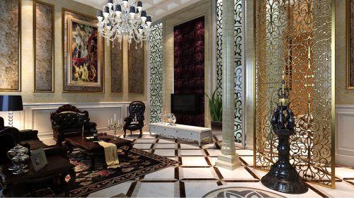 欧式古典五居室客厅装修效果图欣赏