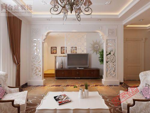 欧式二居室客厅背景墙装修效果图