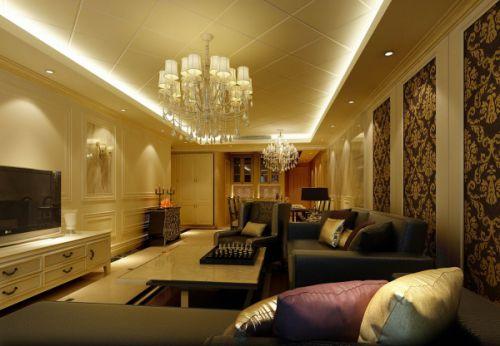 欧式古典四居室客厅影视墙装修效果图