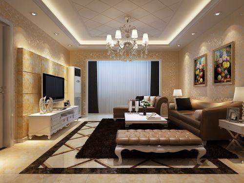 欧式经典三居室客厅装修效果图欣赏
