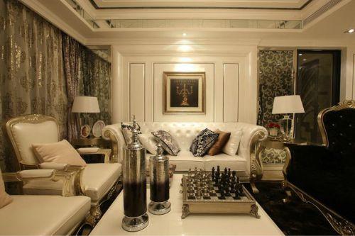 欧式古典三居室客厅吊顶装修效果图