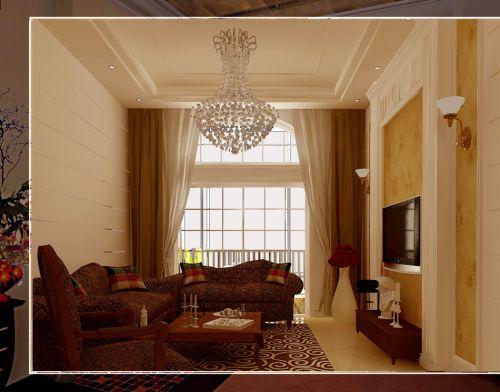 欧式风格三居室客厅吊顶装修效果图欣赏