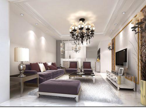 简约欧式风格二居室客厅吊顶装修效果图大全