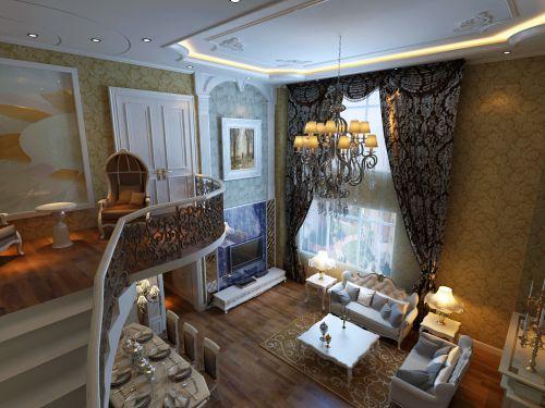 欧式风格别墅客厅背景墙装修图片