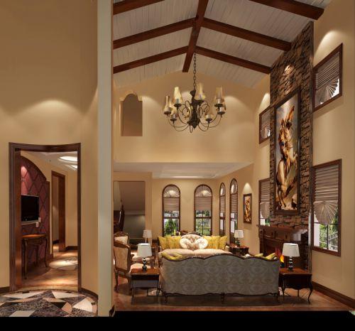 欧式托斯卡纳别墅客厅吊顶装修效果图