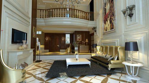 欧式四居室客厅装修效果图大全