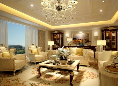 欧式新古典别墅客厅装修效果图大全