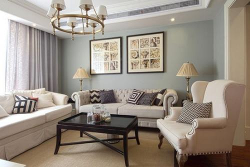 欧式二居室客厅装修效果图