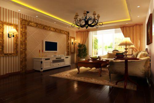 欧式古典三居室客厅装修效果图欣赏