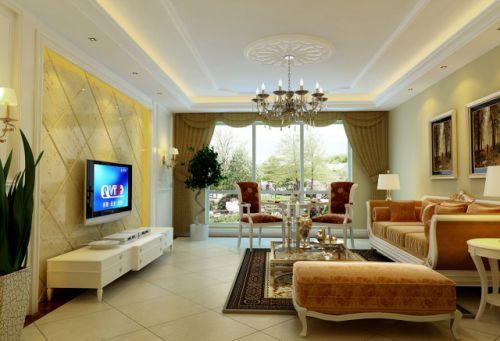 欧式新古典三居室客厅装修效果图