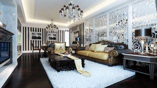 欧式古典三居室客厅吊顶装修效果图大全