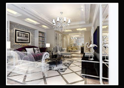 欧式风格四居室客厅装修效果图
