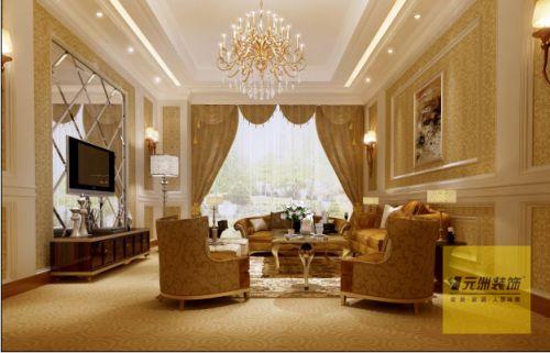 欧式新古典风格四居室客厅装修图片