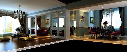欧式新古典别墅客厅装修效果图