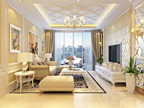 黄色欧式浪漫客厅沙发电视柜装修效果图