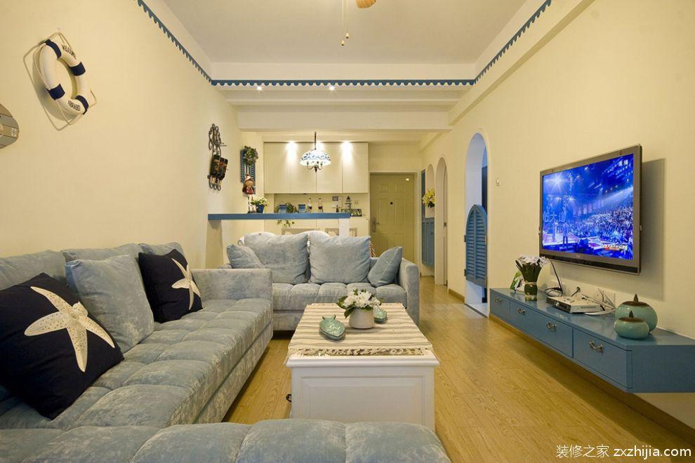 地中海风格客厅50平方小户型装修图图片