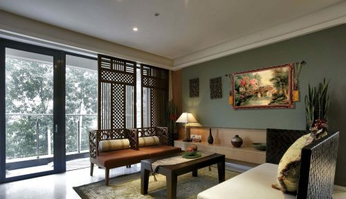 小资田园风格两居室客厅处屏风效果图