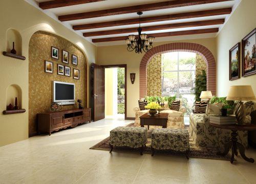 田园风格五居室客厅背景墙装修效果图大全