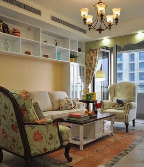 田园风格三居室客厅背景墙装修效果图