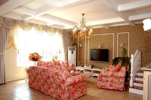 田园风格四居室客厅茶几装修效果图大全